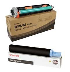 Genuine Canon GPR-18 (0384B003) Black Toner Cartridge , Genuine Canon GPR-18 (0385B003) Black Drum Unit Cartridge